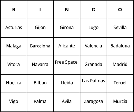 spanish cities bingo