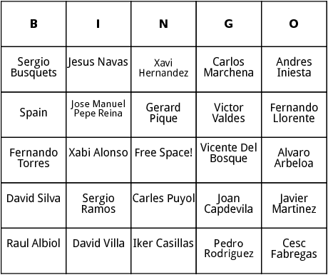 spanish world cup players bingo