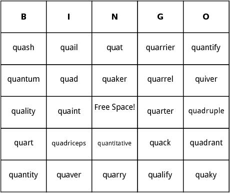 starts with qu bingo