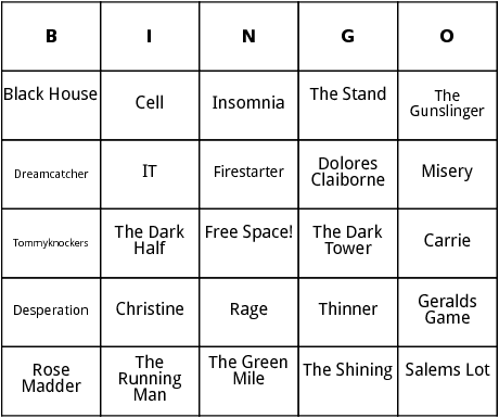 stephen king novels bingo