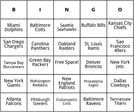 super bowl teams bingo