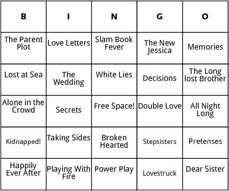sweet valley high titles bingo