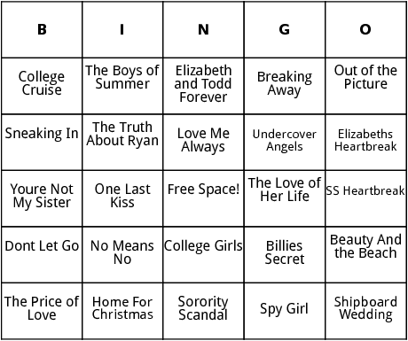 sweet valley university titles bingo