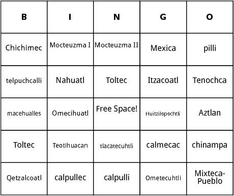 The Aztecs bingo by Bingo Card Template