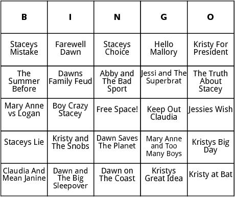 the baby sitters club series bingo