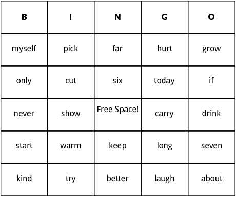 third grade dolch sight words bingo
