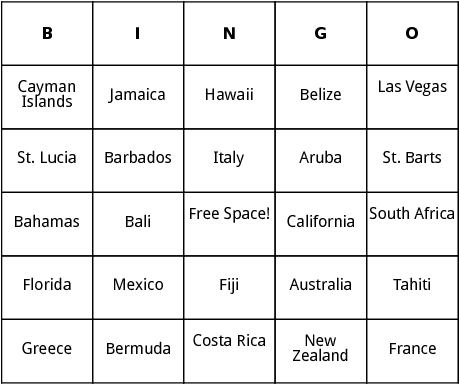 top honeymoon locations bingo