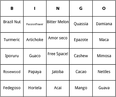 tropical plants bingo