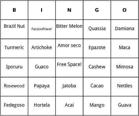 tropical plants bingo