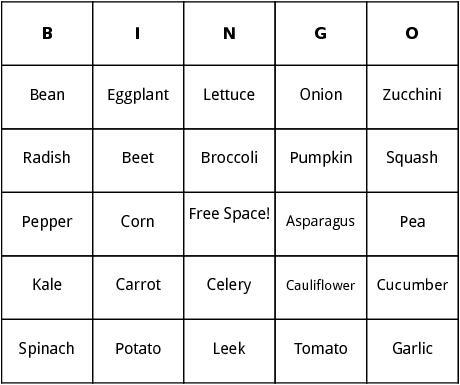 types of vegetables bingo