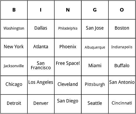 u.s. cities bingo