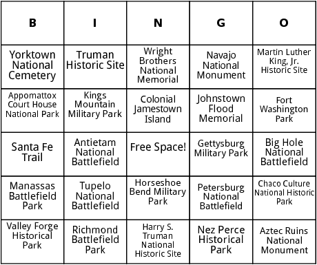 u.s. historic sites and memorials bingo