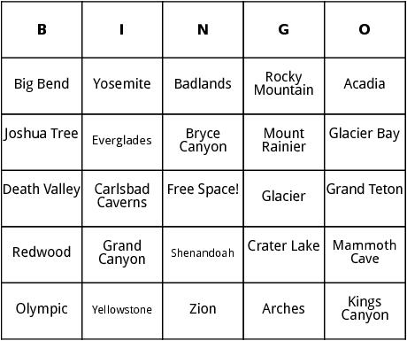 u.s. national parks bingo
