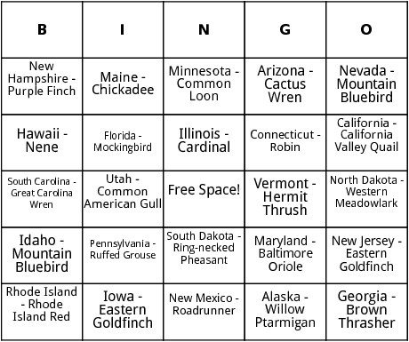 u.s. state birds bingo