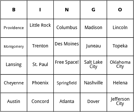 graphic regarding Printable List of State Capitals Only titled U.S. Region Capitals bingo as a result of Bingo Card Template