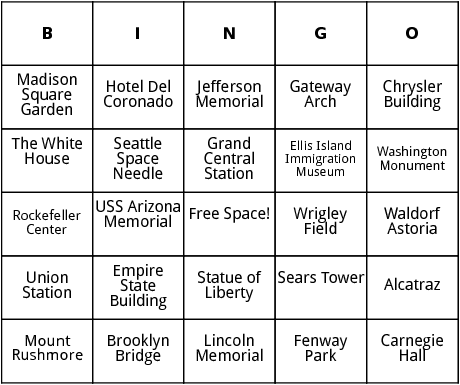 united states landmarks bingo by bingo card template