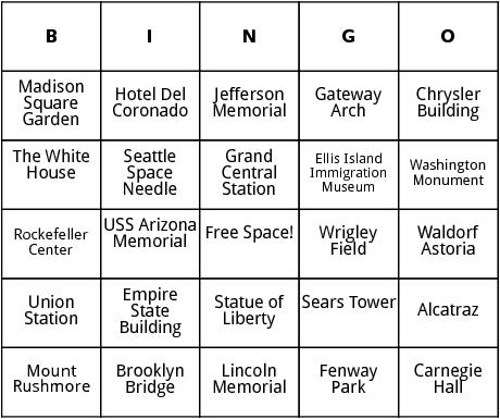 united states landmarks bingo