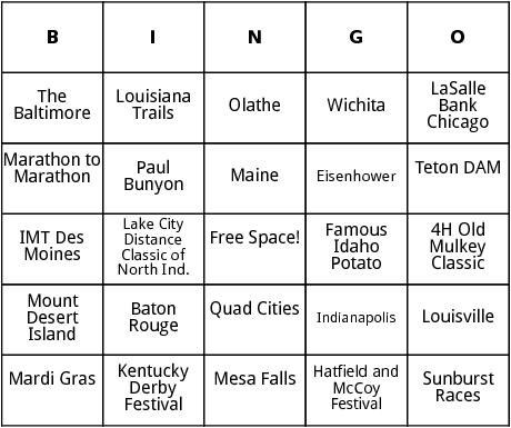 united states marathons 4 bingo