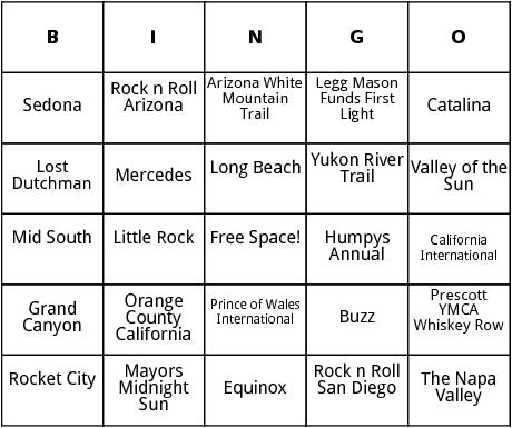 united states marathons bingo