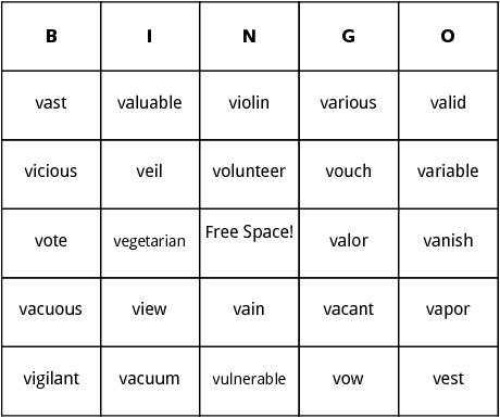 v words bingo