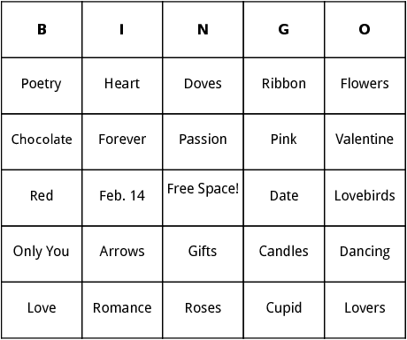 Valentines Day bingo by Bingo Card Template – Valentines Cards Words