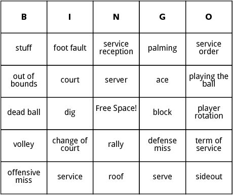 volleyball bingo