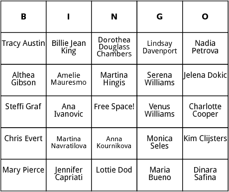 women tennis stars bingo
