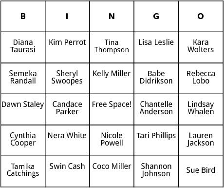 womens basketball players bingo