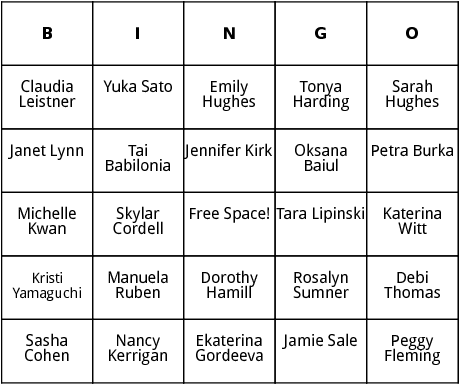 womens figure skating bingo