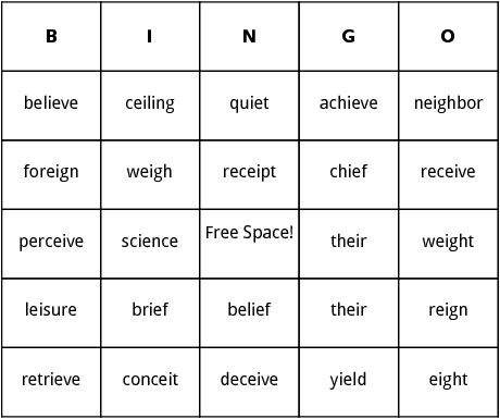 Words That Begin With Double Letters on Palindromes Bingo Cards