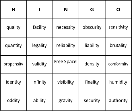 words with ity bingo