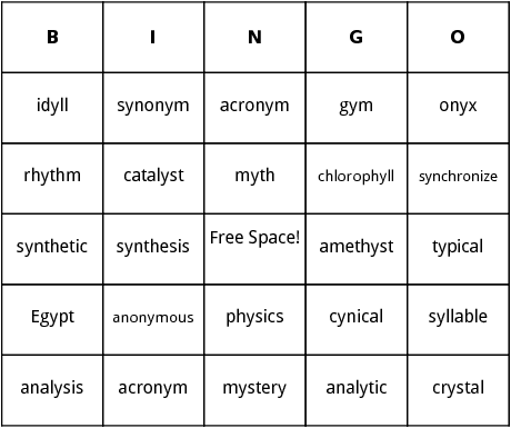 words with y as vowel bingo