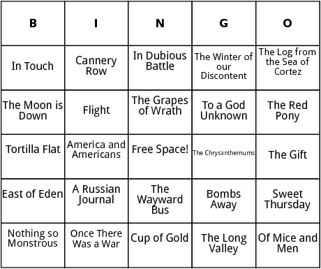 works by john steinbeck bingo