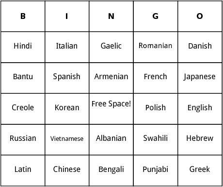 world dialects bingo