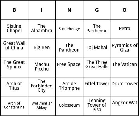 world landmarks bingo