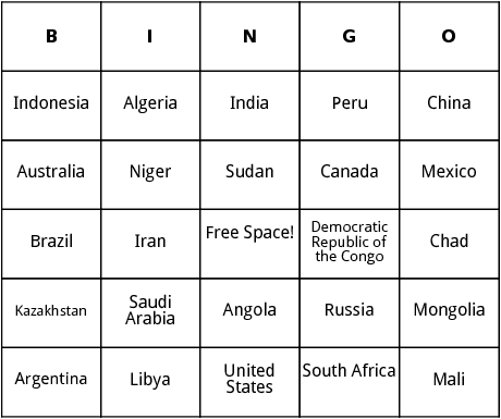 worlds biggest countries bingo