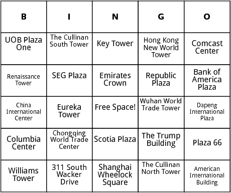 worlds tallest buildings bingo