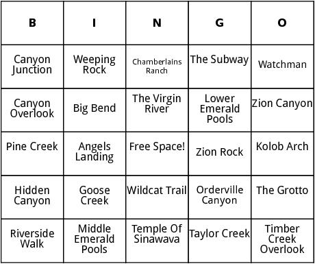 zion park bingo